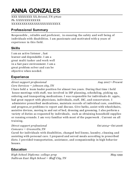 direct support professional resume sample Tennessee