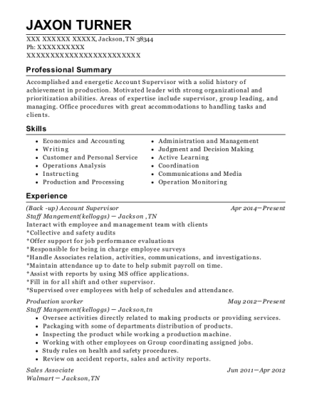Account Supervisor resume template Tennessee