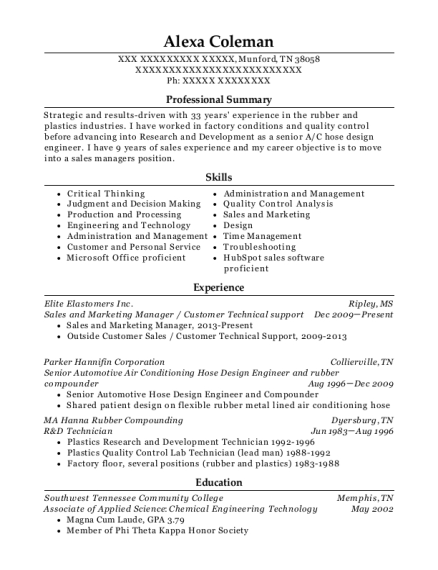 Sales and Marketing Manager resume sample Tennessee