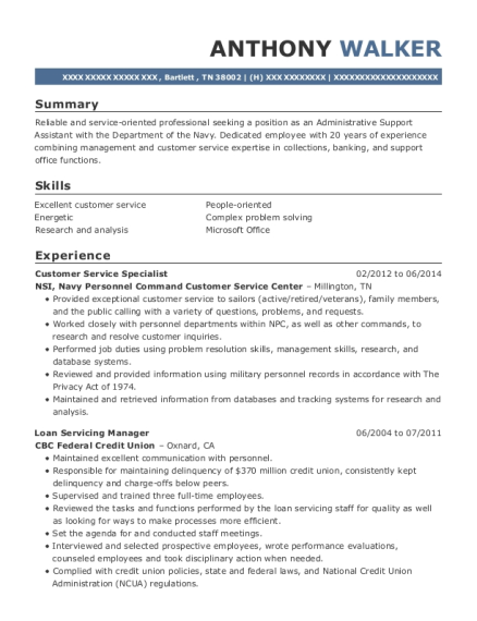 Customer Service Specialist resume sample Tennessee