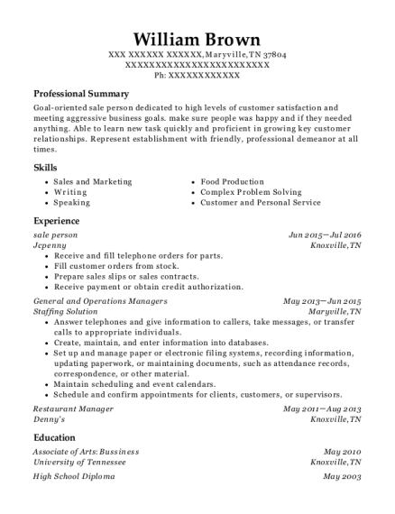 sale person resume format Tennessee