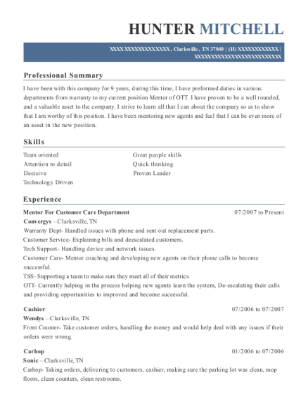 Mentor For Customer Care Department resume template Tennessee