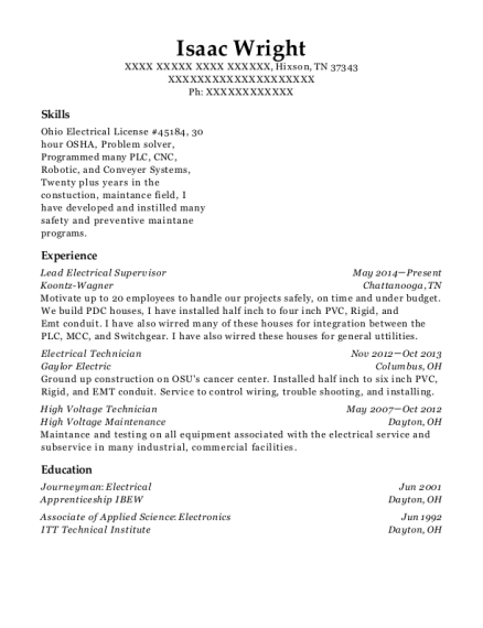 Lead Electrical Supervisor resume template Tennessee