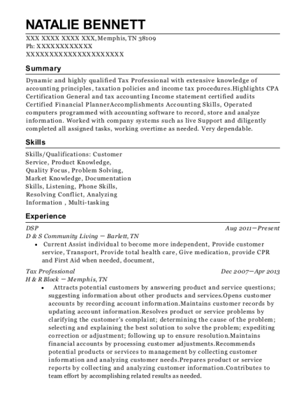DSP resume format Tennessee