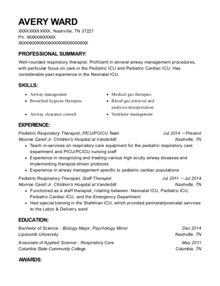 Pediatric Respiratory Therapist resume format Tennessee