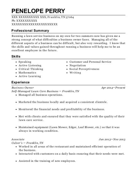 Business Owner resume example Tennessee