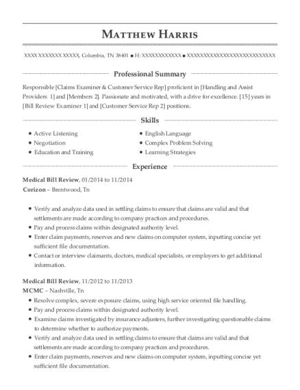 Medical Bill Review resume example Tennessee