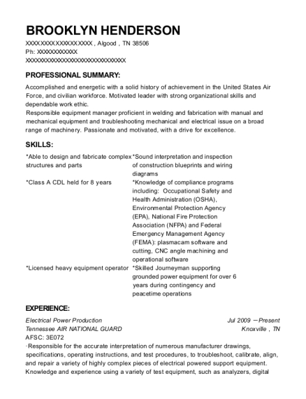 Electrical Power Production resume format Tennessee