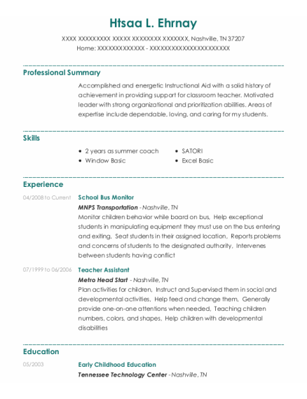 Teacher Assistant resume format Tennessee
