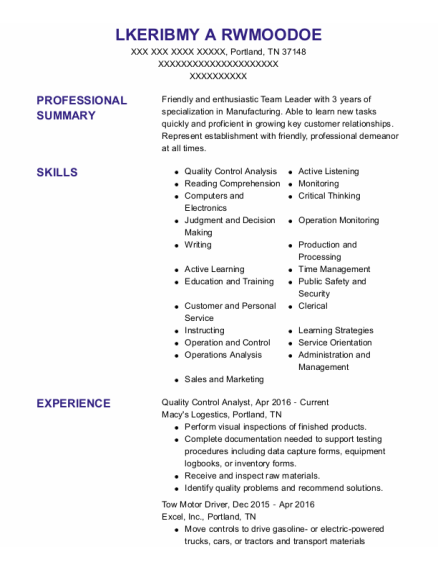 Quality Control Analyst resume example Tennessee