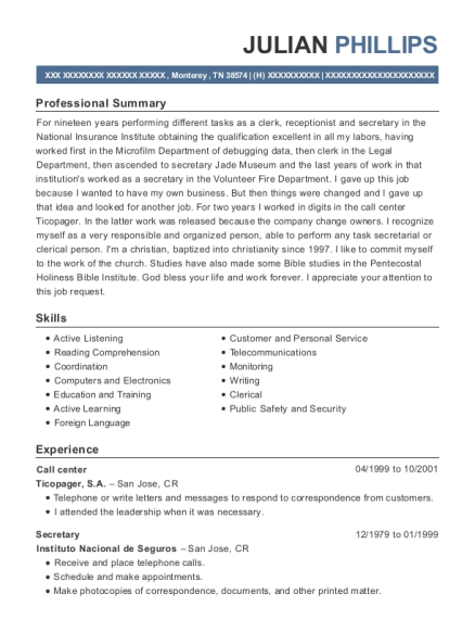 Call Center resume sample Tennessee