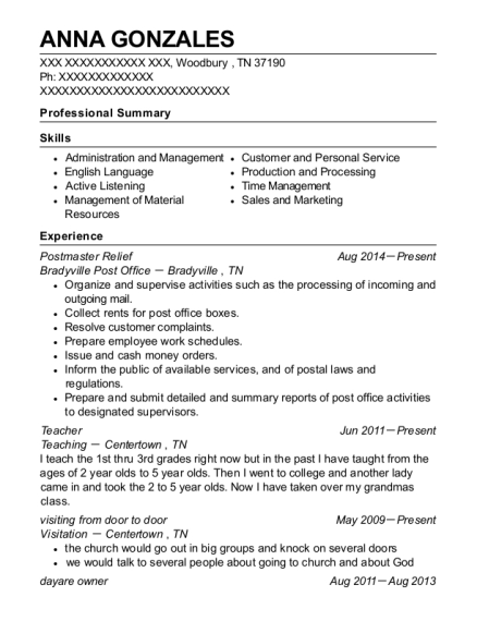 Postmaster Relief resume example Tennessee