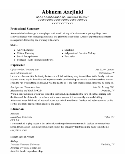 Office Worker resume sample Tennessee