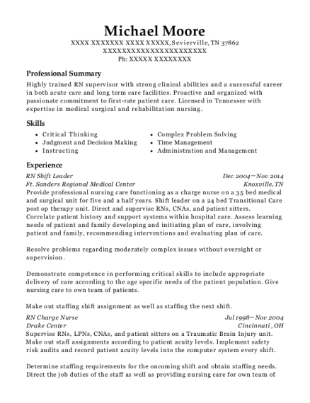 RN Shift Leader resume template Tennessee