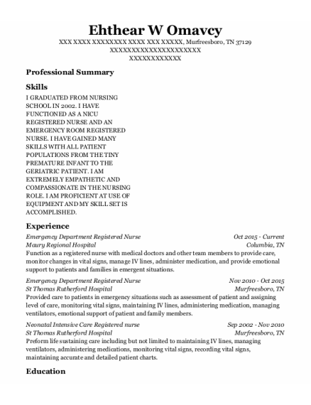 Emergency Department Registered Nurse resume format Tennessee