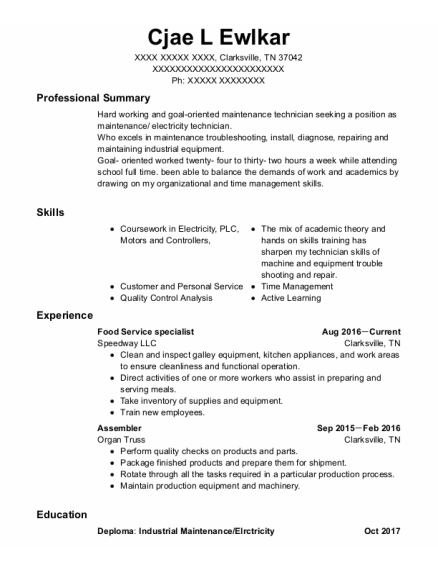 Food Service Specialist resume example Tennessee