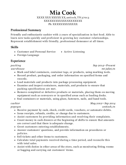 packing resume sample Tennessee