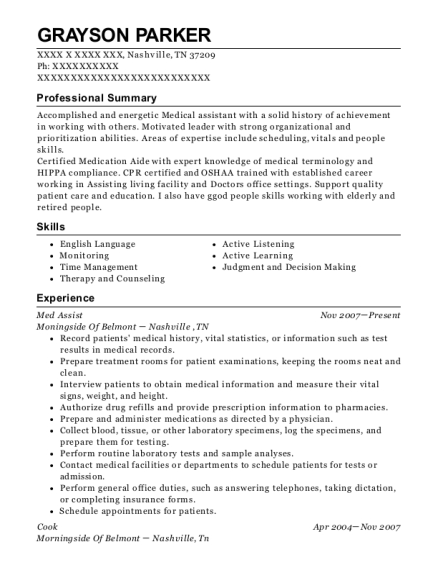 Med Assist resume example Tennessee