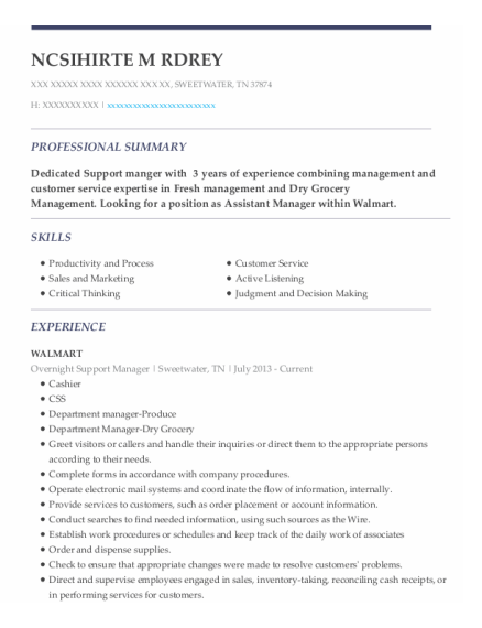 Overnight Support Manager resume example Tennessee