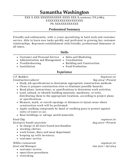 Construction Laborer resume example Tennessee