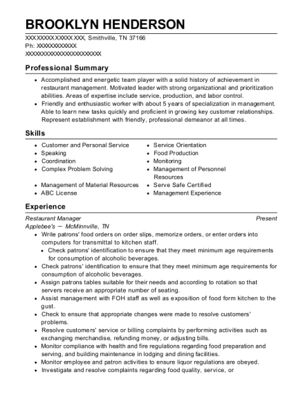Restaurant Manager resume format Tennessee