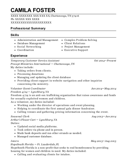 Temporary Customer Service Assistant resume format Tennessee