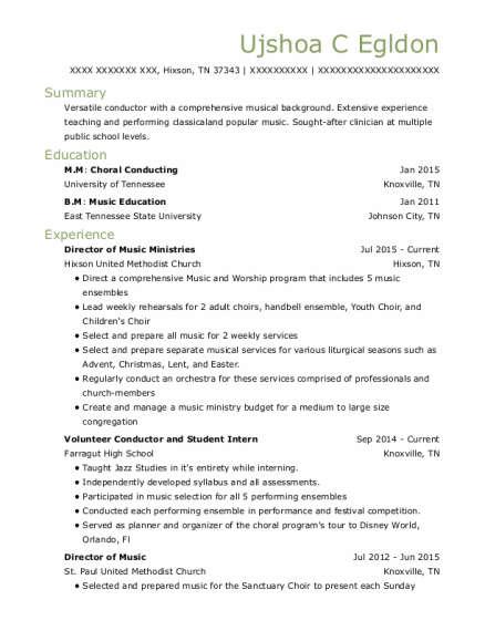 Director of Music resume template Tennessee