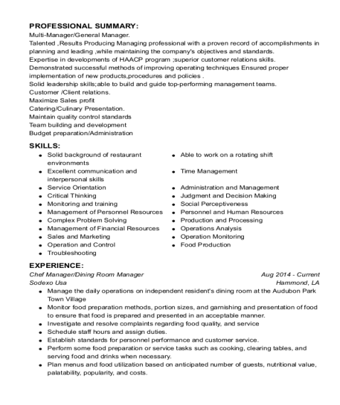 Dining Room Manager resume sample Tennessee