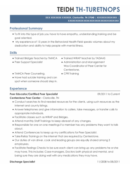 Peer Educator resume template Tennessee