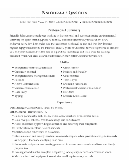 Deli Manager resume template Tennessee