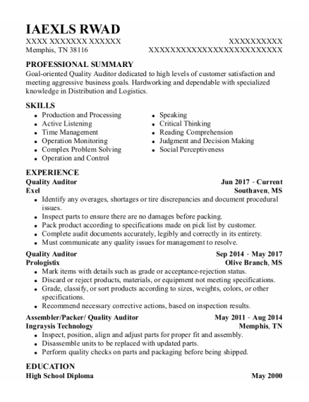 Quality Auditor resume example Tennessee
