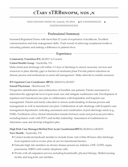 RN case manager resume sample Tennessee