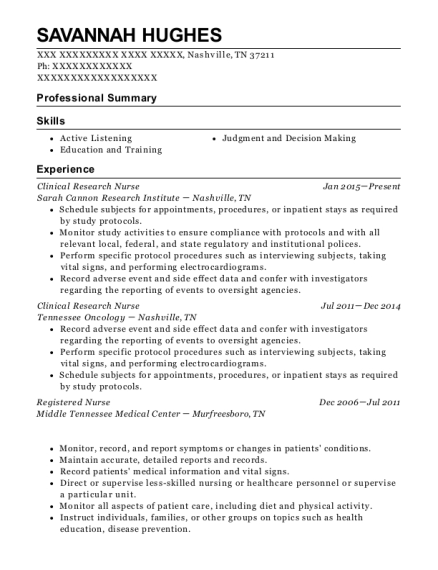 Clinical Research Nurse resume sample Tennessee