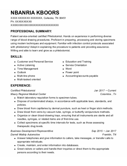 Certified Phlebotomist resume example Tennessee