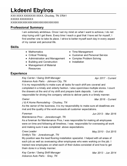 Key Carrier resume template Tennessee