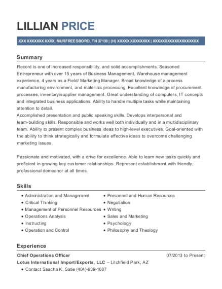 Chief Operations Officer resume example Tennessee