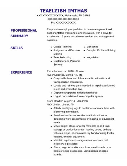 Parts Runner resume template Tennessee