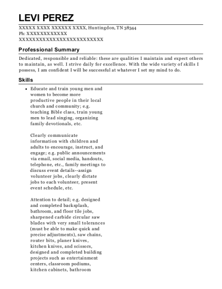 Youth & Benevolence Minister resume example Tennessee