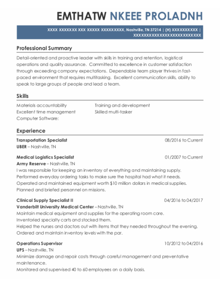 Transportation Specialist resume template Tennessee