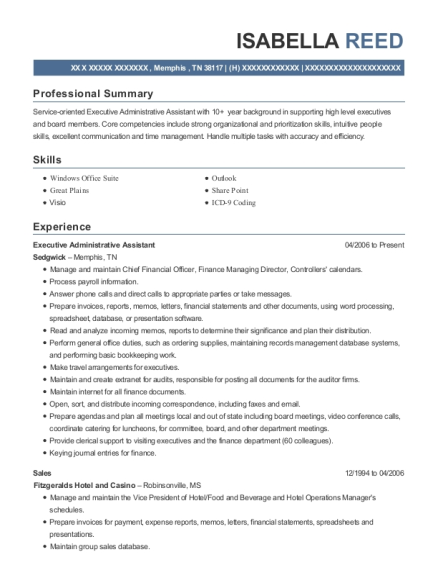 Executive Administrative Assistant resume sample Tennessee