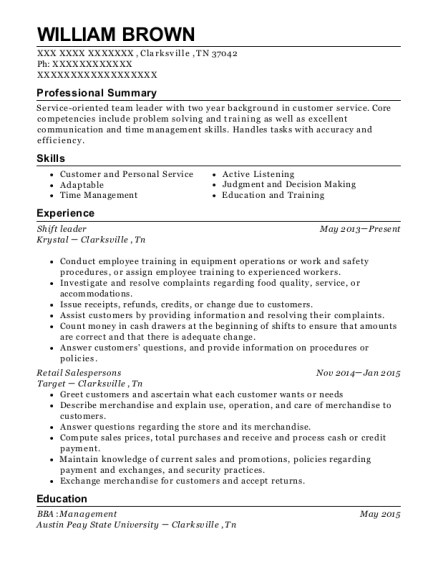 Shift Leader resume sample Tennessee