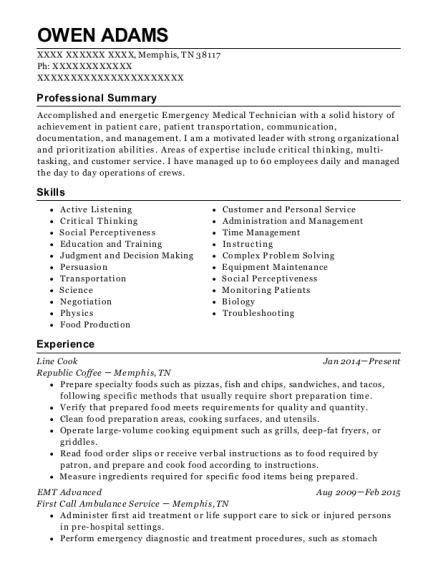 Line Cook resume sample Tennessee