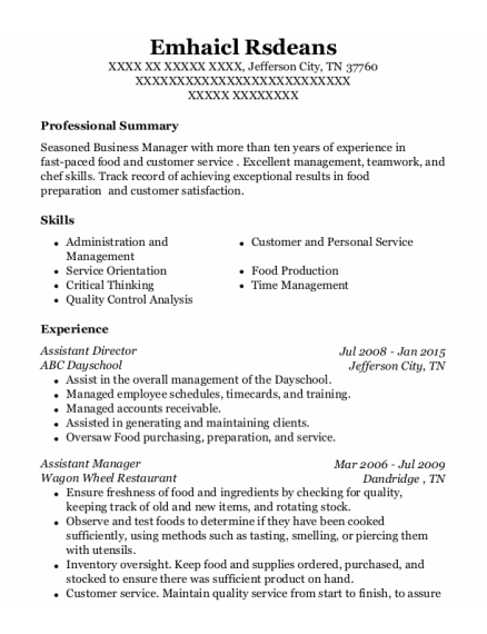 Assistant Director resume sample Tennessee