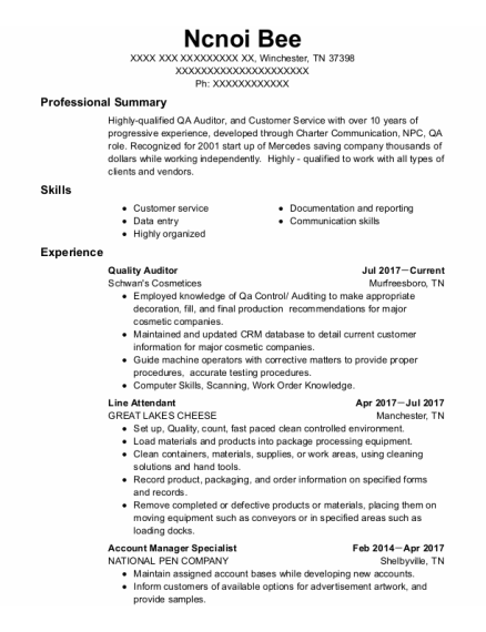 Quality Auditor resume template Tennessee