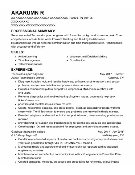 Technical Support Engineer resume sample Tennessee