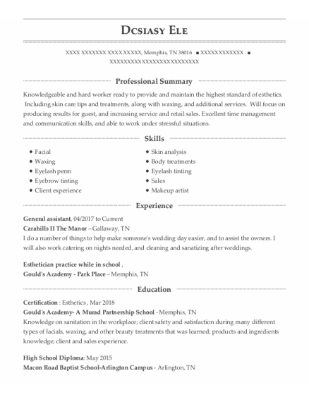 General Assistant resume template Tennessee