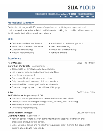 Floor Manager resume format Tennessee