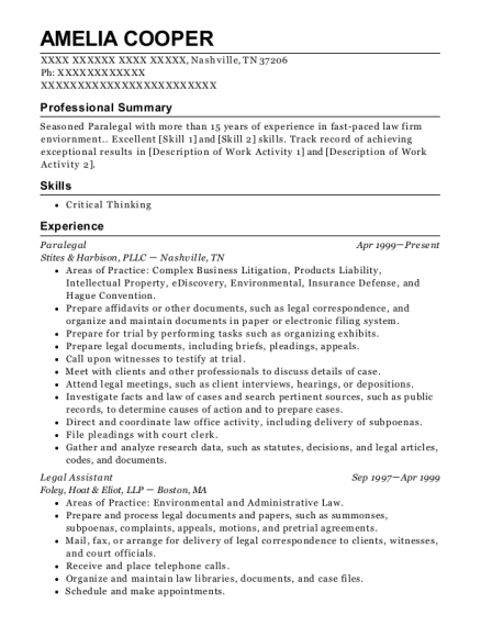 Paralegal resume sample Tennessee