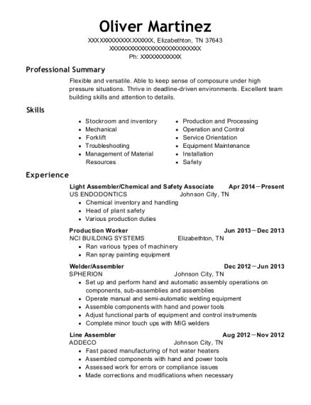 Light Assembler resume sample Tennessee