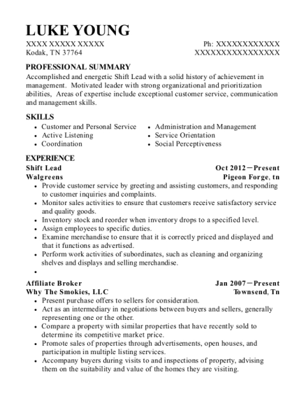 Shift Lead resume template Tennessee